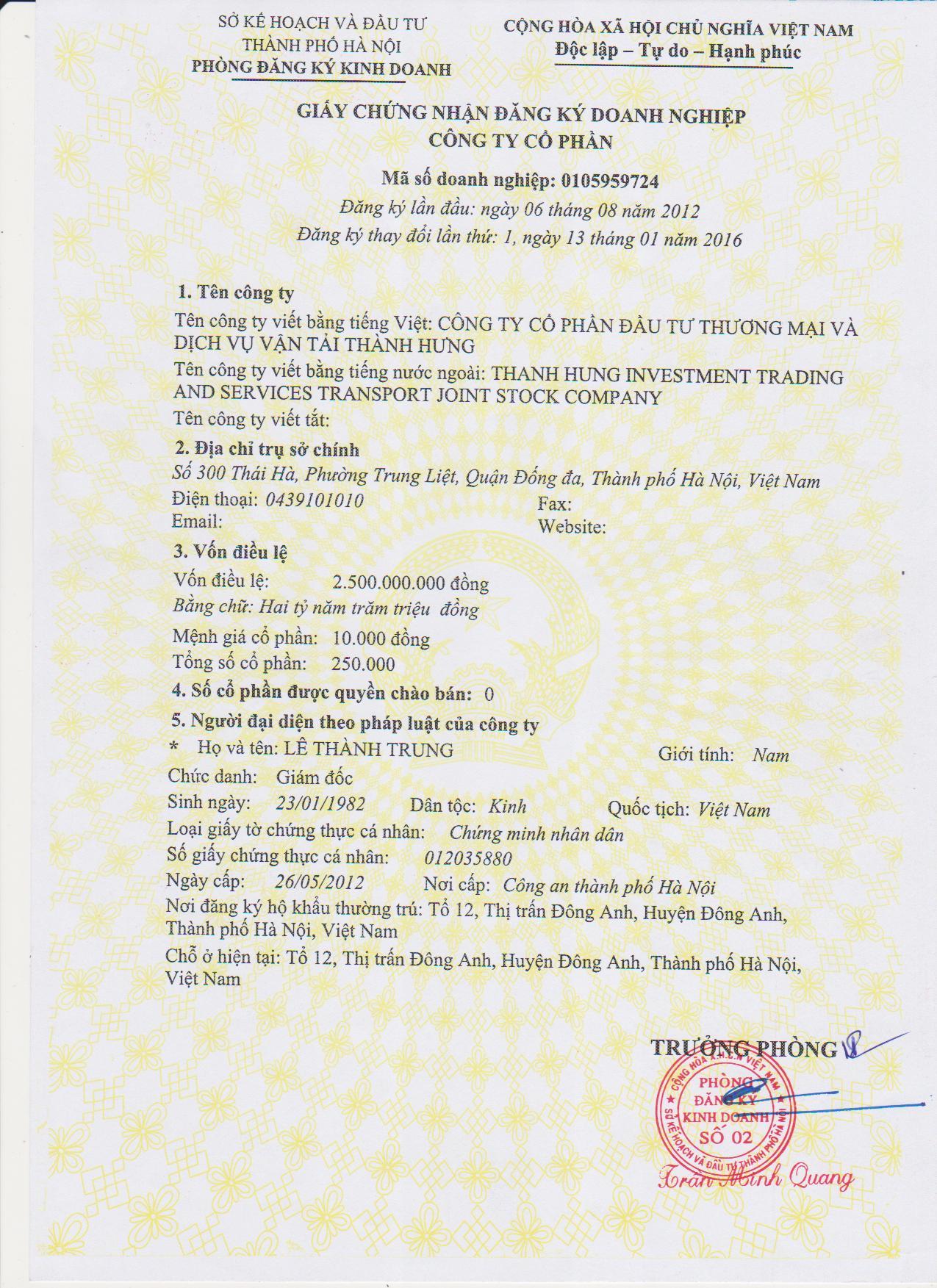 Giấy phép đăng ký kinh doanh chuyển nhà Thành Hưng