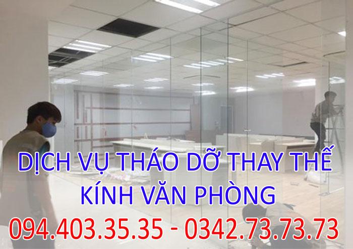 Dịch vụ tháo dỡ thay thế kính văn phòng tại Hà Nội